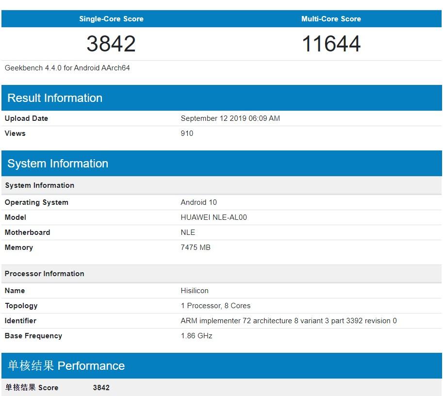 El procesador Kirin 990 se muestra en Geekbench antes de su lanzamiento 1
